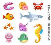 sea creatures illustration set. | Shutterstock . vector #182777486