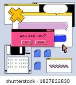 retrofuturistic vector collage... | Shutterstock .eps vector #1827822830