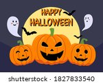 pumpkins with ghost  bats and... | Shutterstock .eps vector #1827833540