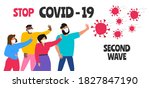 stop covid 19 second wave...   Shutterstock .eps vector #1827847190