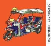 tuk tuk in bangkok  thailand | Shutterstock .eps vector #1827852680