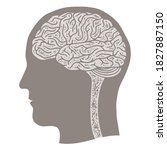 human head silhouette with brain | Shutterstock .eps vector #1827887150