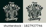 halloween vintage creepy badge... | Shutterstock .eps vector #1827927746