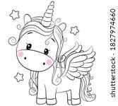 cute cartoon unicorn with stars ... | Shutterstock .eps vector #1827974660