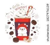 winter greeting card with hot... | Shutterstock .eps vector #1827976139