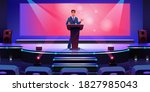 stage with speaker at podium...   Shutterstock .eps vector #1827985043