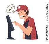 call center operator of food...   Shutterstock .eps vector #1827994829
