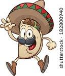 cartoon taco wearing a sombrero.... | Shutterstock .eps vector #182800940