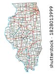 illinois road and highway map.... | Shutterstock .eps vector #1828013999