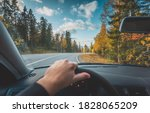 autumn road view from the car's ...   Shutterstock . vector #1828065209