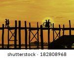 u bein bridge  myanmar. u bein...   Shutterstock . vector #182808968