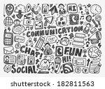 doodle communication background | Shutterstock .eps vector #182811563