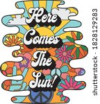 here comes the sun slogan with... | Shutterstock .eps vector #1828129283