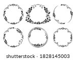 Set Of Black Round Frames With...
