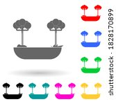 trees multi color style icon....