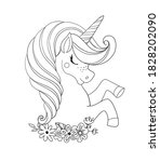 unicorn head with flowers.... | Shutterstock .eps vector #1828202090