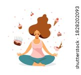 a cute girl sits in a lotus... | Shutterstock .eps vector #1828202093
