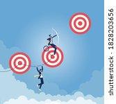 reaching higher targets concept ... | Shutterstock .eps vector #1828203656