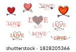 set of happy valentines day...   Shutterstock .eps vector #1828205366