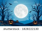 halloween background with full... | Shutterstock . vector #1828222130
