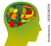 brain with colorful fruits and... | Shutterstock .eps vector #1828248206
