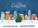 winter night city in retro... | Shutterstock .eps vector #1828259309