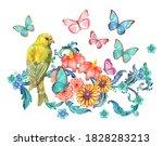 yellow bird sitting on blue... | Shutterstock . vector #1828283213
