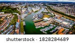 Aerial panorama of the city of Bristol, UK