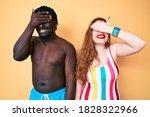 Interracial Couple Wearing...
