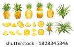 pineapple fruit tropical... | Shutterstock .eps vector #1828345346