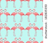 seamless flamingo bird pattern | Shutterstock .eps vector #182835350