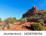 A Red Sandstone Mountain With...