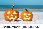 Pumpkin jack o' lantern on the...