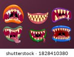 monsters mouths. funny facial... | Shutterstock . vector #1828410380