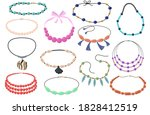 beautiful necklaces with beads... | Shutterstock .eps vector #1828412519