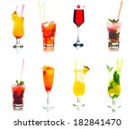 set of colored cocktails with... | Shutterstock . vector #182841470