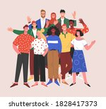 multinational team. vector... | Shutterstock .eps vector #1828417373