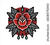 red rose tattoo vector design   Shutterstock .eps vector #1828570343