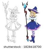beautiful cartoon witch holding ... | Shutterstock .eps vector #1828618700