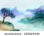 landscape painted in watercolor | Shutterstock . vector #182869430