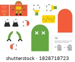 cut and glue paper toy. vector... | Shutterstock .eps vector #1828718723