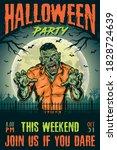 halloween party vintage poster...   Shutterstock .eps vector #1828724639