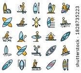 sup surfing icons set. outline... | Shutterstock .eps vector #1828735223
