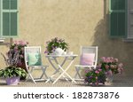 beautiful terrace with white... | Shutterstock . vector #182873876