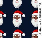 Black Cute Cartoon Santa Claus. ...