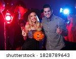 happy couple enjoying halloween ... | Shutterstock . vector #1828789643