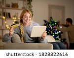 Happy Woman Shopping Online On...