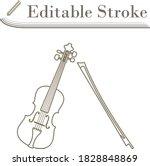 violin icon. editable stroke...