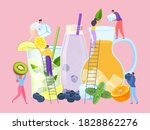 Fruit cold drink in glass concept, vector illustration. Juice summer party with flat people character, tropical fresh beverage. Tiny man woman make huge cocktail for cartoon event.