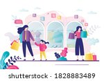 female character with lot of...   Shutterstock .eps vector #1828883489